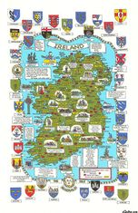 Maps and Crests of Ireland Cotton Tea Towel