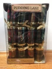 Red & Green Tartan Crackers - 12 pack - 2 in stock