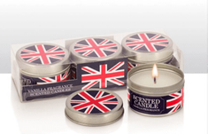 Union Jack Vanilla Scented Candles - Set of 3