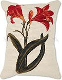 Amaryllis Floral Needlepoint Pillow