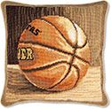 Basketball Needlepoint Throw Pillow