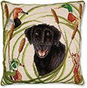 Black Lab and Ducks Needlepoint Pillow