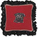 Black Pug on Red Needlepoint Pillow