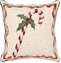 "Candy Cane Needlepoint Pillow<br><font color=""red""><font size=""2""><b>Limited Edition</b></font></font>"