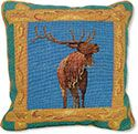 Elk Wildlife Needlepoint Pillow