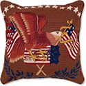 Flag and Eagle Needlepoint Pillow