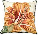Gold Day Lily Floral Needlepoint Pillow