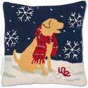 Handmade Golden Retriever Snow Dog Christmas Pillow