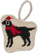 Handmade Needlepoint Black Lab Christmas Ornament