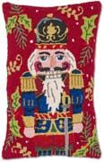 Handmade Red Nutcracker Hooked Christmas Pillow