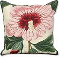 Pink Hibiscus Needlepoint Pillow