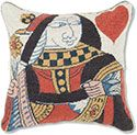 Queen of Hearts Playing Card Needlepoint Pillow