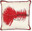 Red Wooly Bugger Fly Needlepoint Pillow