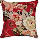 Roses on Red Floral Needlepoint Pillow