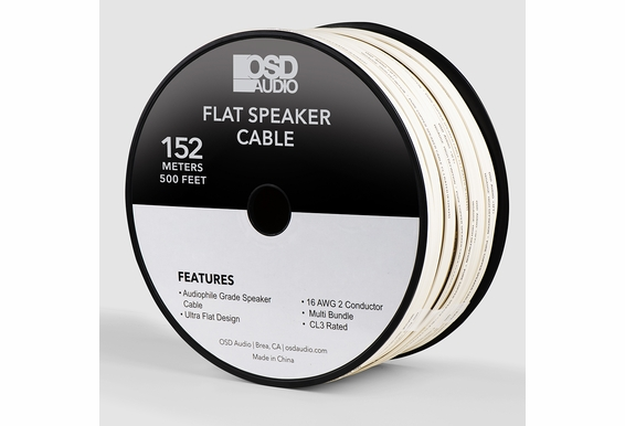 16 Gauge 2-Conductor Oxygen Free, Burial Rated, In Wall or Outdoor Flat Speaker Cable Wire, CL3/ FT4 (152M/ 500Ft)