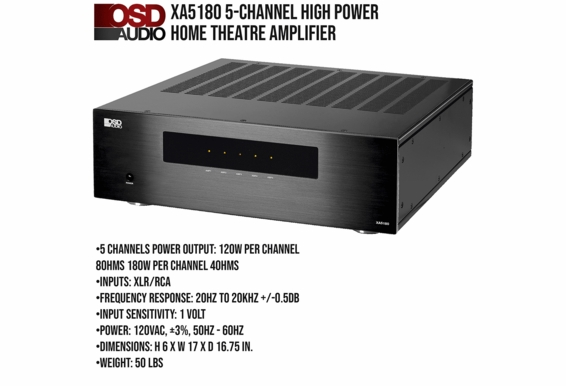 """5-Channel High Power Home Theater Amplifier with Five (5) 8"""" Angled Trimless LCR In-Ceiling Speakers"""
