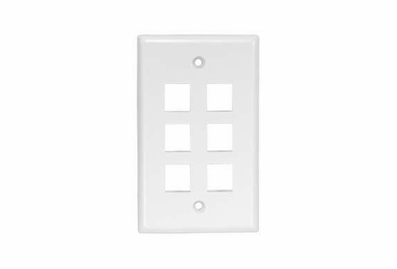 6 Port Single Gang Keystone Wall Plate