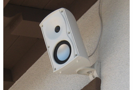 "AP490 4"" Outdoor Patio Speakers Pair  Composite Resin Low Resonator Cabinet Tilt & Swivel Bracket Black White Color"