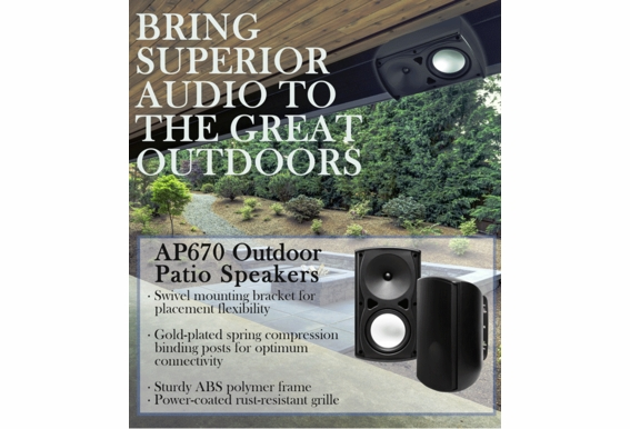 """AP670 Performance Architectural Composite Resin Low Resonator Cabinet Outdoor Patio Speaker 2-Way 6.5"""" Pair Black White"""