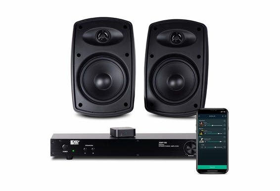 """App Controlled Wireless Outdoor Speaker System, XMP100 Class D 75W Amp w/ Nero Link WiFi App Music Controller and AP525 5.25"""" Patio Speaker Pair Black Or White"""