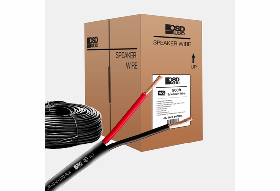 Black 16 Gauge 2-conductor Oxygen Free Burial Rated In-Wall Speaker Cable 500ft CL3