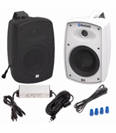 "BTP525 Wireless 5.25"" Bluetooth® 2-Way Outdoor Patio Speaker Pair Composite Resin Low Resonator Cabinet Waterproof Power Supply"