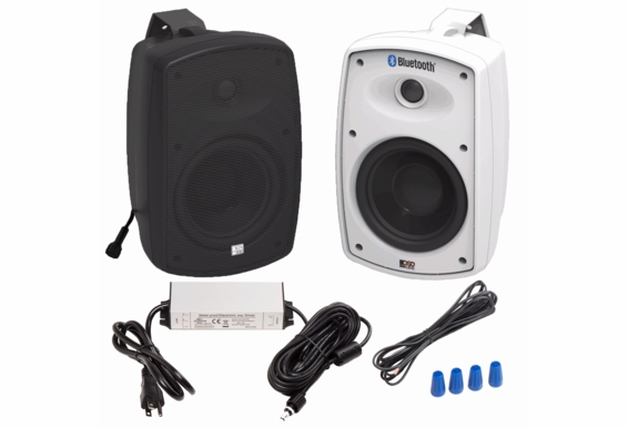 "BTP650 Wireless 6.5"" Bluetooth® 2-Way Outdoor Patio Speaker Pair Composite Resin Low Resonator Cabinet IP67 Waterproof Power Supply"