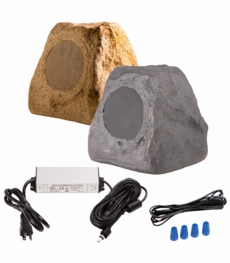 "BTR150 Wireless 5.25"" Bluetooth® Rock Speaker Pair IP67 Waterproof Power Adapter (Sandstone Brown or Slate Dark Grey)"
