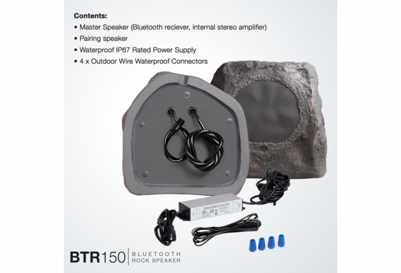 "BTR150 Wireless 5.25"" Bluetooth® Rock Speaker Pair IP67 Waterproof Power Adapter (Sandstone Canyon Brown or Slate Dark Grey)"
