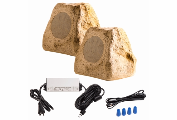 "BTR150 Wireless 5.25"" Bluetooth Rock Speaker IP67 Waterproof Power Adapter (Pair Slate Brown Color)"
