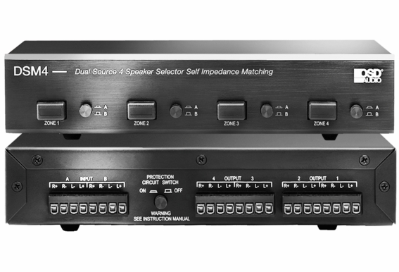 DSM4 Dual Source 4 Zone Speaker Selector High Performance with Amplifier Protection