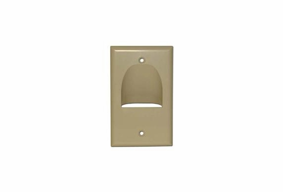 Inverted Pass Through Bundle Cable Wall Plate Single Gang (Ivory & Black)