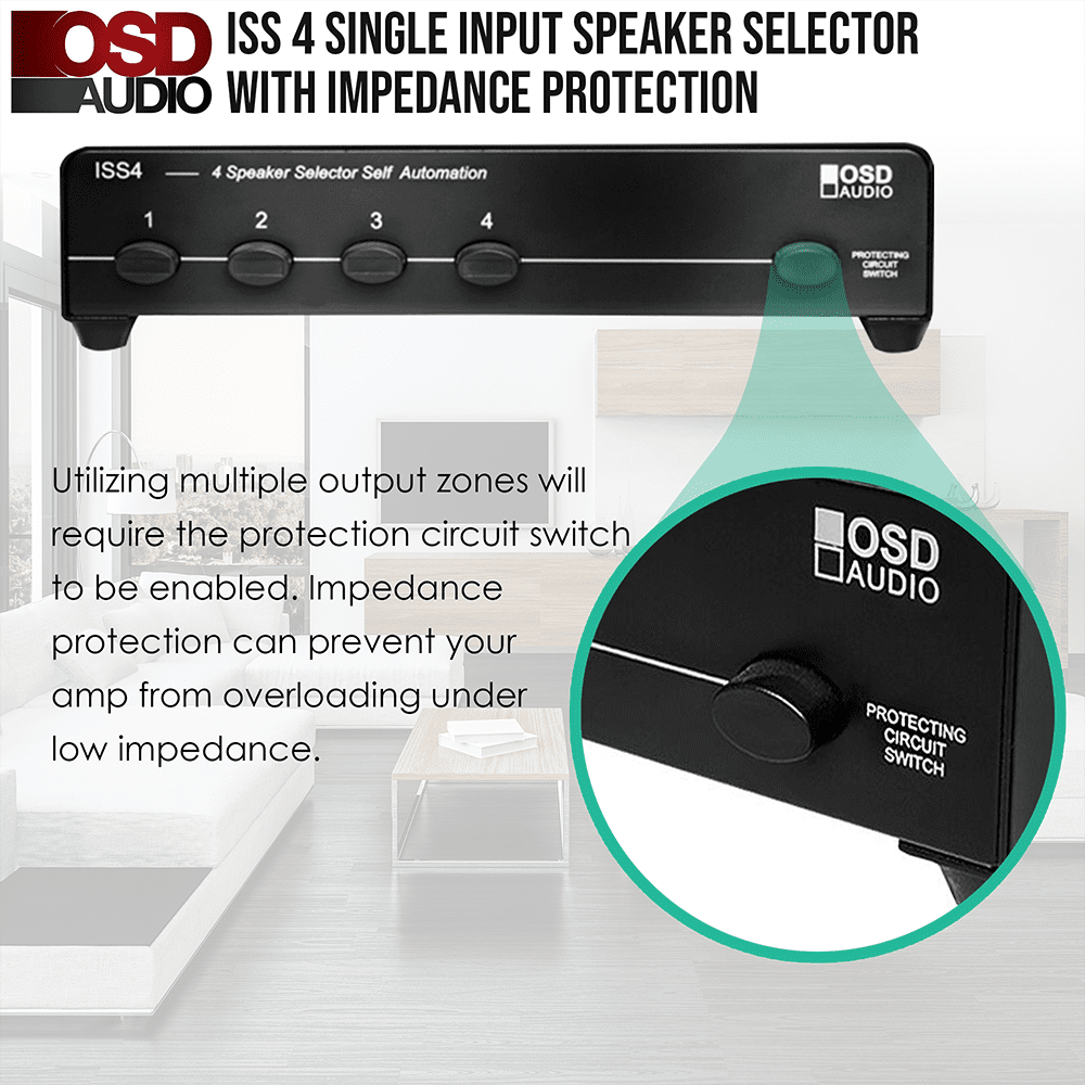 Speaker Selector 4 Pair High Power Osd Iss4 Wiring Diagrams For 8 Ohm Speakers 4x With Impedance Protection And Easy Input Output Connectors