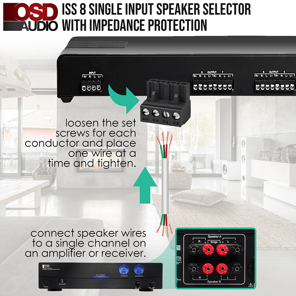 High Power Speaker Selector 8 Pair Osd Iss8 Difference Between Parallel And Series Wiring Speakers 8x With Impedance Protection Easy Input Output Connectors