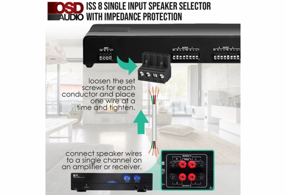 ISS8 8x Pair High Power Speaker Selector with Impedance Protection and Easy Input/Output Connectors