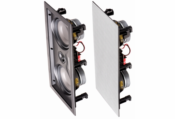 """IW525 In Wall Center Channel LCR Dual 5.25"""" Woofers 1"""" Silk Pivoting Tweeter 100W Home Theatre Speaker Trimless (Single)"""