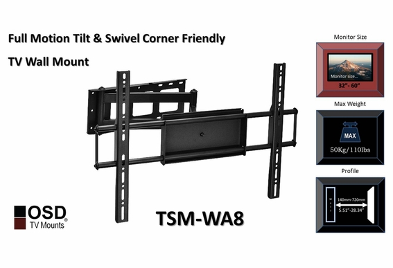 "LCD/LED/Plasma TV Wall Mount Tilt & Swivel 32""-70"" OSD TSM-WA8"