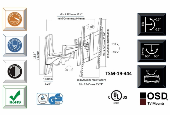 "LED/LCD/Plasma Full Motion Tilt & Swivel Mount 26"" - 47"" OSD TSM-19-444"