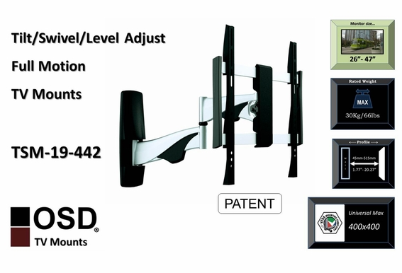 "LED/LCD/Plasma Tilt & Swivel Full Motion Mount 26"" - 47"" OSD TSM-19-442"