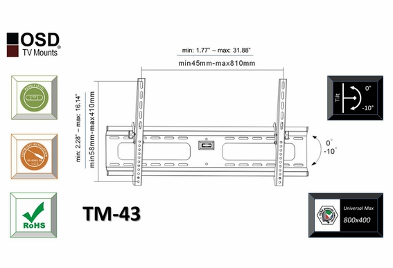 "LED/LCD TV Mount Tilt 37"" - 70"" OSD TM-43"