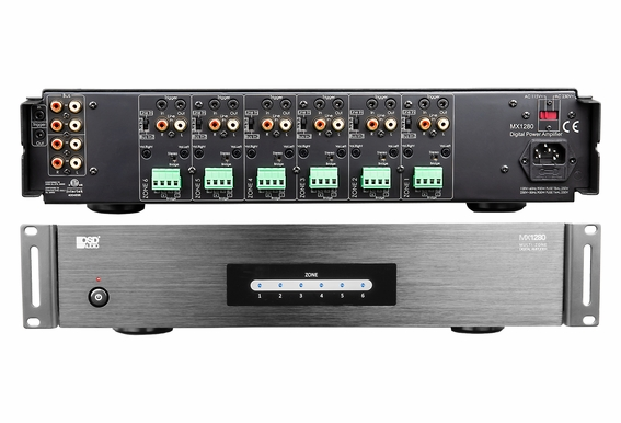 MX1280 6 Zone 12-Channel Digital Power Amplifier for Distributed Audio and Home Theater Systems - 80W Per Channel