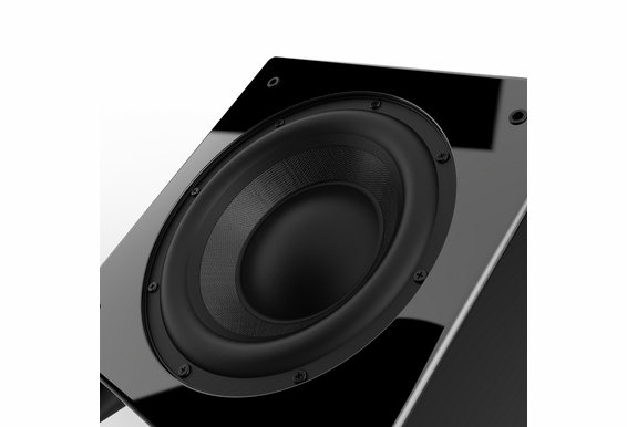 "Nero Dual X8 8"" Dynamic Powered Subwoofer with Active and Passive Woofers, 300W of Power, Gold-plated Inputs and Piano Black Finish"