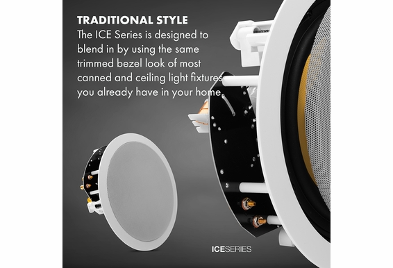 "OSD Audio ICE840 8"" Fiber Glass Woofer w/Butyl Rubber Surrounds and 1"" Titanium Tweeter 175W In-Ceiling Loud Speakers Pair White Standard Frame"