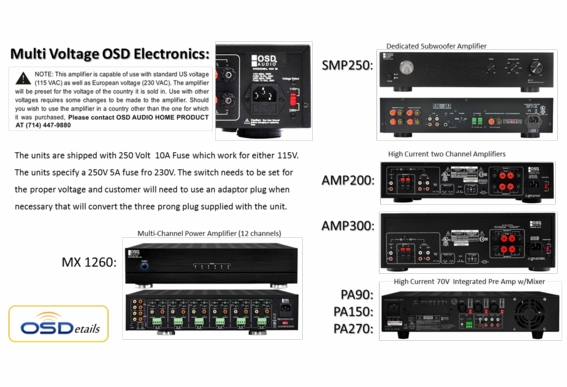 OSD Audio PA150 Commercial 70V 120 Watt Commercial Amplifier 3x Microphone 3x Source Inputs