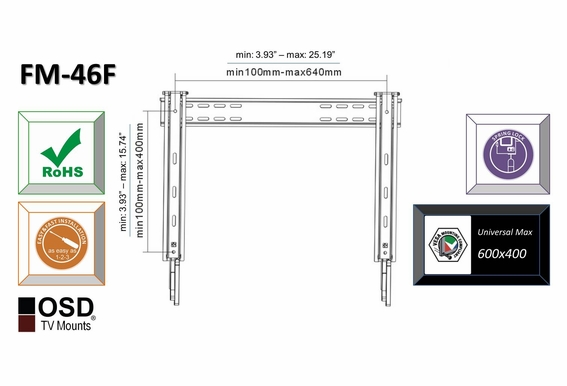 "OSD FM-46F Plasma/LCD Ultra-thin Fixed Flat Mount 32""-60"""