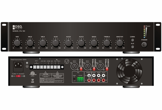 OSD PA90 70V Commercial Amplifier 60W 3x Microphone 3x Source Inputs