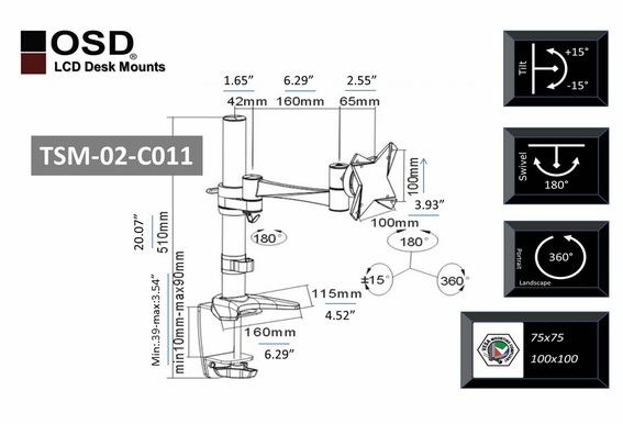 "OSD TSM-02-C011 Desktop LCD Tilt & Swivel Mount 13"" - 23"""