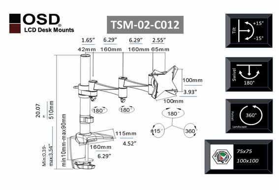 "OSD TSM-02-C012 Desktop LCD Tilt & Swivel Mount 13"" - 23"""