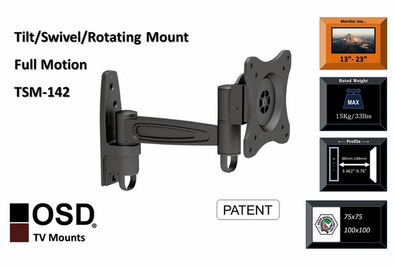 "OSD TSM-142 Plasma/LED/LCD Tilt & Swivel Corner Friendly Mount 13"" - 23"""
