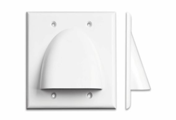 Pass Through Bundle Cable Wall Plate Dual Gang
